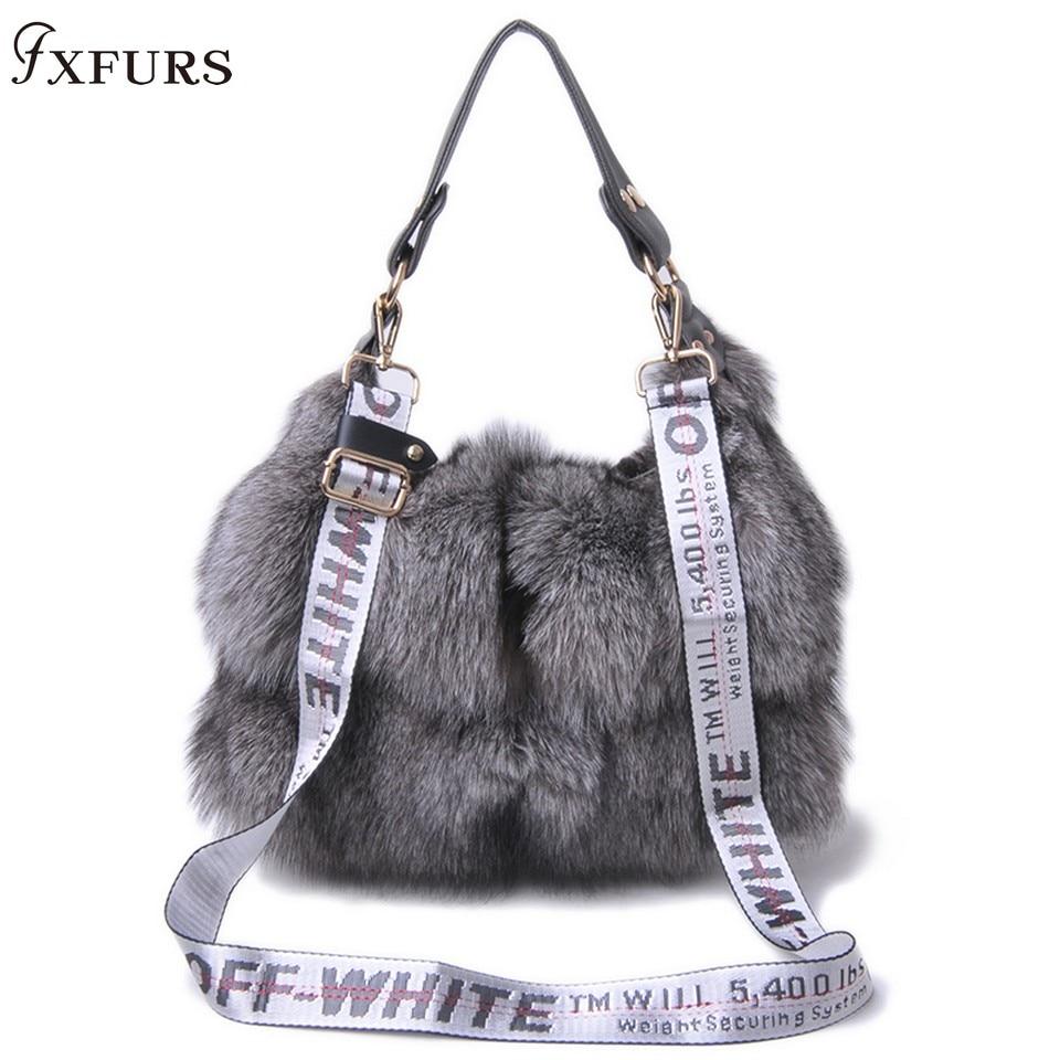 FXFURS 2019 nuevos bolsos de piel de zorro Real para mujer, Bolso bandolera de un solo hombro, bolso de mano grande de piel de zorro plateado para mujer