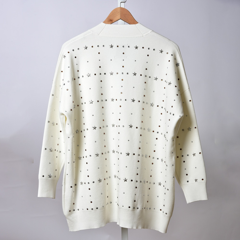 Gezelligheid 2021 Autumn Runway Fashion Elegant Casual Star Willow Nails V-Neck Long Sleeve Loose White Sweater Cardigan Tops enlarge