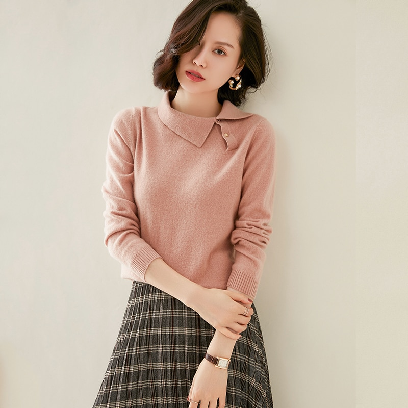 adohon 2020 woman winter 100% Cashmere sweaters autumn knitted Pullovers High Quality Warm Female thickening Turn-down Collar enlarge