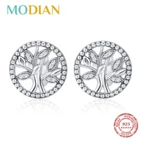 modian 100 real 925 sterling silver round vintage round tree of life stud earrings fashion luxury earing for women new jewelry
