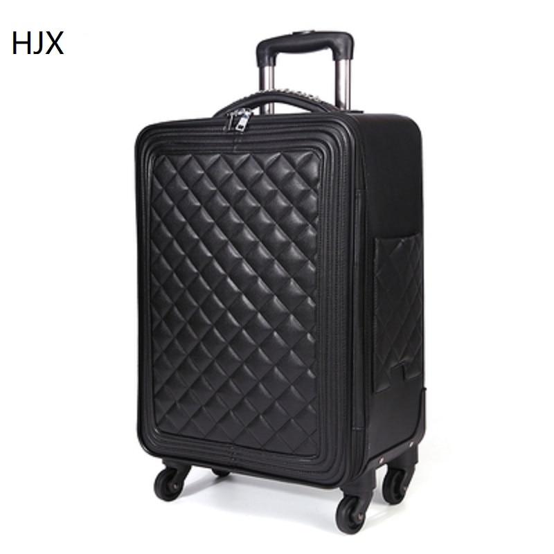 100% искусственная кожа Сумка и чемодан на колесиках Высокое качество Мода 16/20/24 Размер фирменный туристический чемодан на вращающихся колес...