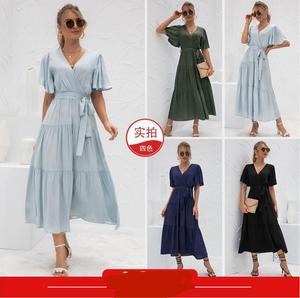 2021 Summer New Arrival Women's Sexy Long Dress with V-neck Stitching Dresses for Women  Dresses for Women  Woman Dress  Dress