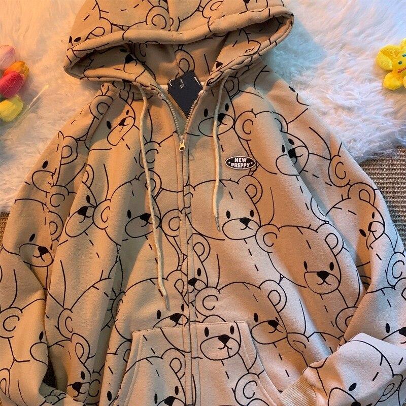 Harajuku Cute Teddy Bear Hoodies Preppy Style Hooded Tops Sport Outwear Sweatshirts Women Simple All Match Spring Autumn Coats