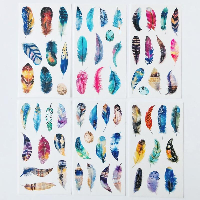Album-de-pegatinas-decorativo-de-plumas-de-colores-magicas-6-hojas-papel-de-decoracion-cuenta-de-mano