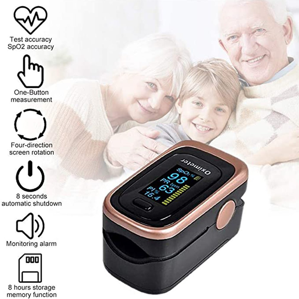 Finger Clip Oximeter Blood Oxygen Saturation Monitor SpO2 PR Blood Pulse Monitoring Health Tool Household Fingertip Oximeter