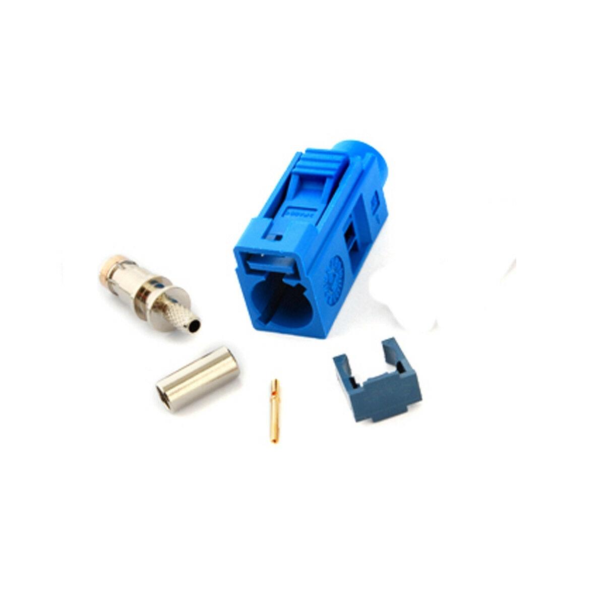 Conector Jack hembra YiNiTone Fakra C Azul/5005 engarzado para Cable RG316 para antena GPS telemática y navegación