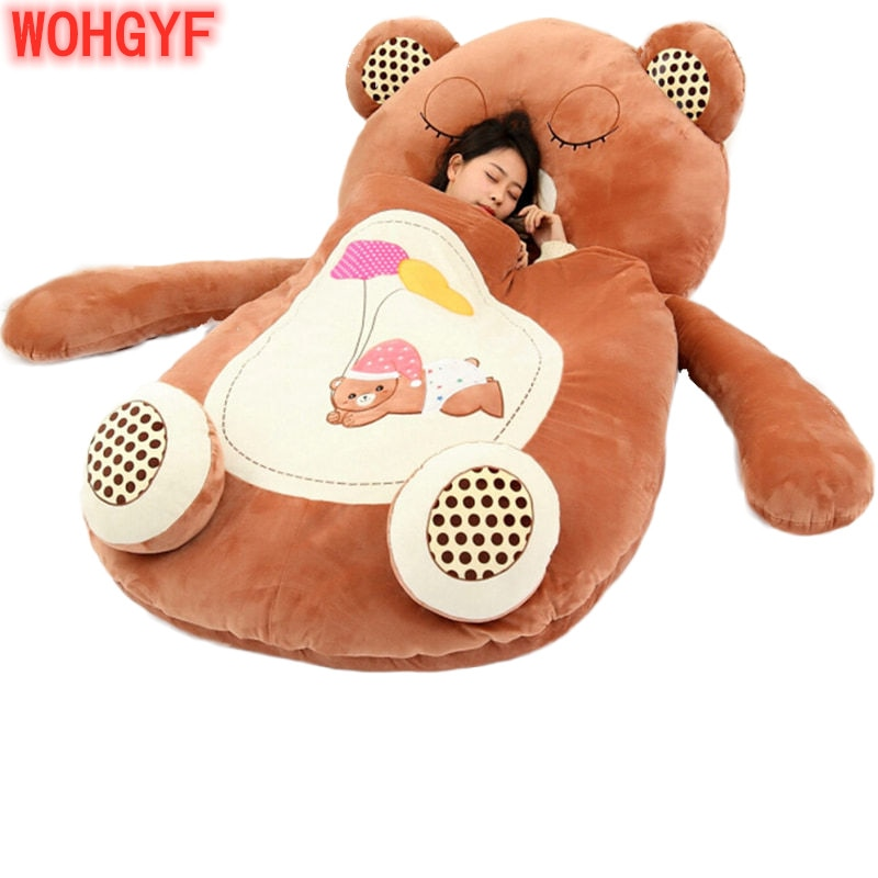 Giant Cartoon Sleeping Bag Soft Plush Animals Beanbag Frog Bear Monkey Bed Carpet Tatami Sofa Mat Gift For Baby Children Girls