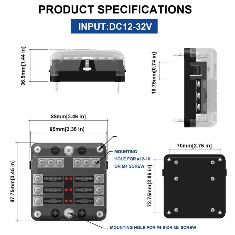 Q9QD Car Marine Power Distribution Blade Fuse Holder Box Block Panel with LED Indicator Bolt Terminals for Headlight