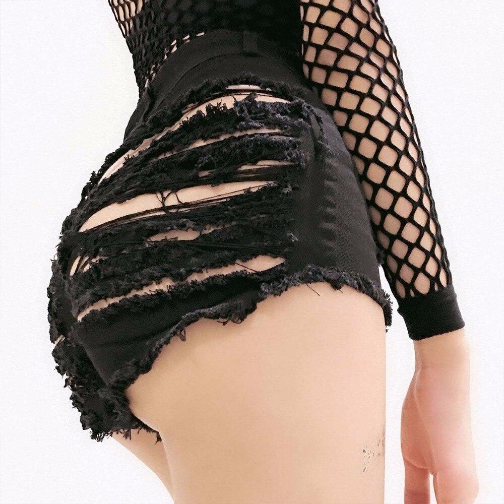 Summer Women Shorts Fashion Ripped Hole High Waist Tassel Zipper Jeans Shorts Solid Denim Sexy Club Female Mini Shorts