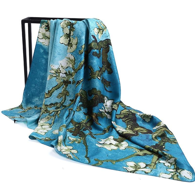 Stoles Bird Flower Tree Print Square Scarves 2019 Women Silk Scarf Large Shawls Fashion Femme Wrap Bandanas 130*130CM