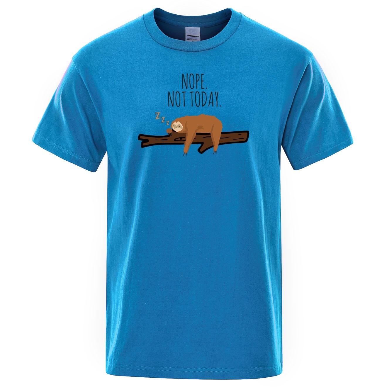Мужская хлопковая футболка с коротким рукавом nope not today, Повседневная футболка уличная одежда, лето 2019