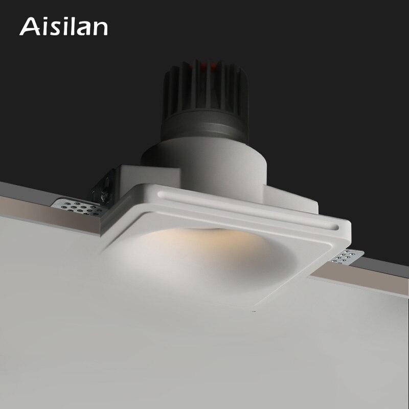 Aisilan led ساحة مستديرة بلا حدود إضاءة هابطة متراجع جزءا لا يتجزأ من الجبس مصباح السقف الأضواء لغرفة المعيشة المنزلية الممر