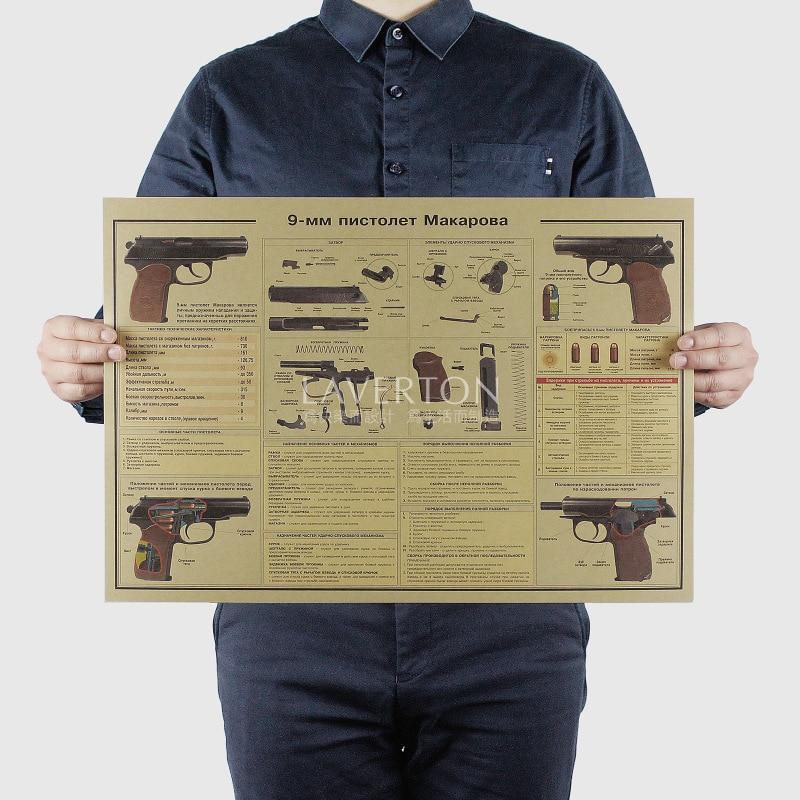 9 MM pistol/ Famous Weapon design /GUN /kraft paper/bar poster/Retro Poster/Stickers decorative painting 51x35.5cm
