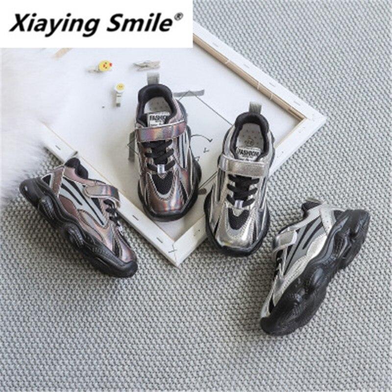 Xiling version de chaussures de sport laser de loisirs   Pour garçons et filles en automne, maille respirante, autocollant magique, chaussures de sport, nouvelle gamme
