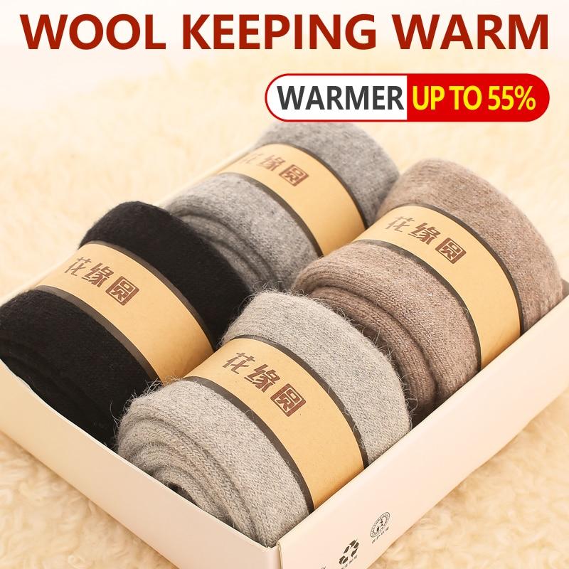 Outono inverno homens meias grossas lã merino quente puro colorido toalha de tubo médio longo algodão chinelo grosso cashmere meias masculino 4 pares