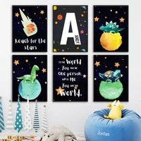 dinosaur space planet custom baby name nursery wall art canvas painting nordic posters and prints wall pictures boys room decor
