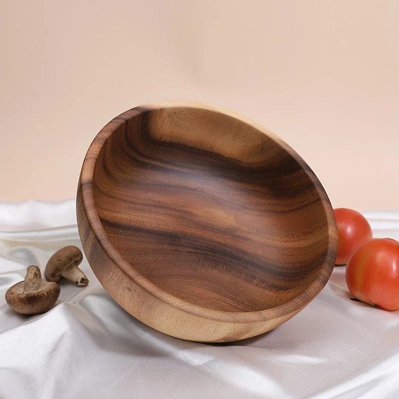 25x10CM Large Size Wooden Rice Bowls Pan Candy Fruit Dishes Saucer Dessert Dinner Bread Wood Plates storage Bowl