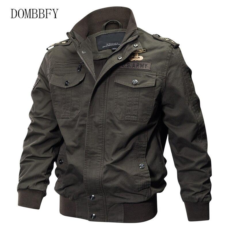 Jaqueta militar masculina primavera outono algodão jaqueta piloto casaco do exército bordado bombardeiro jaquetas outwear carga jaqueta de vôo 6xl