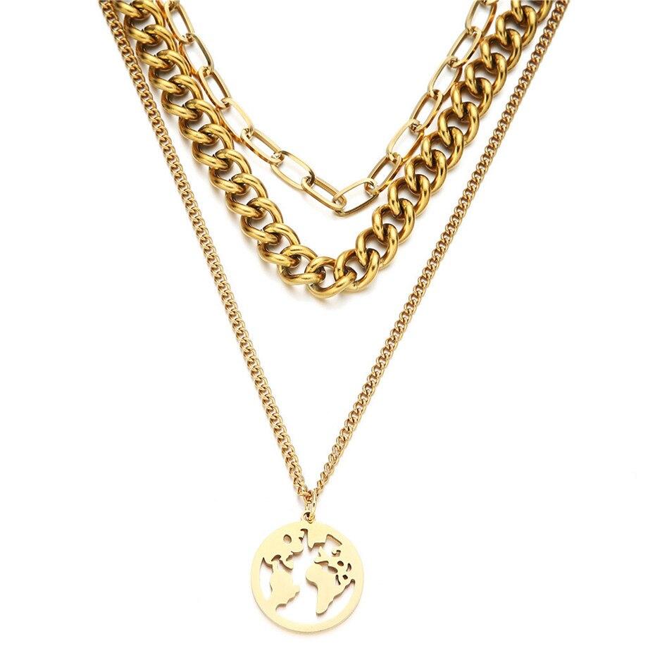 Lien cubain chaîne collier ras du cou Punk multicouche carte du monde pendentif collier pour les femmes couleur or acier inoxydable collier bijoux