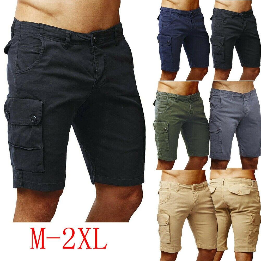 Homens Shorts Da Carga De Algodão quente Casual Meio Estiramento Sólidos Slim Fit Trecho Curto Verão Meia Curta Pockets Curtas Calças de Combate