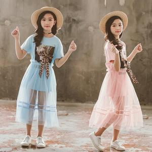2021 new Summer Kids Girls Clothes fashion Leopard Bowknot T-shirt + long Mesh Skirt Outfits Teenager 4 5 6 7 9 8 10 11 12 year