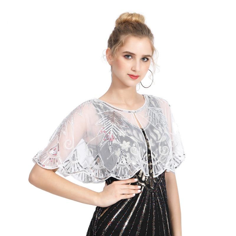 Женская винтажная шаль в европейском стиле 1920-х годов, блестящая полосатая прозрачная Роскошная декорированная бисером вечерняя накидка, т...