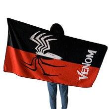 Avengers chauds SpiderMan fer homme Deadpool batman venin motif serviette serviette de bain modèle Cos Anime accessoire cadeau jouets pour enfants 140CM