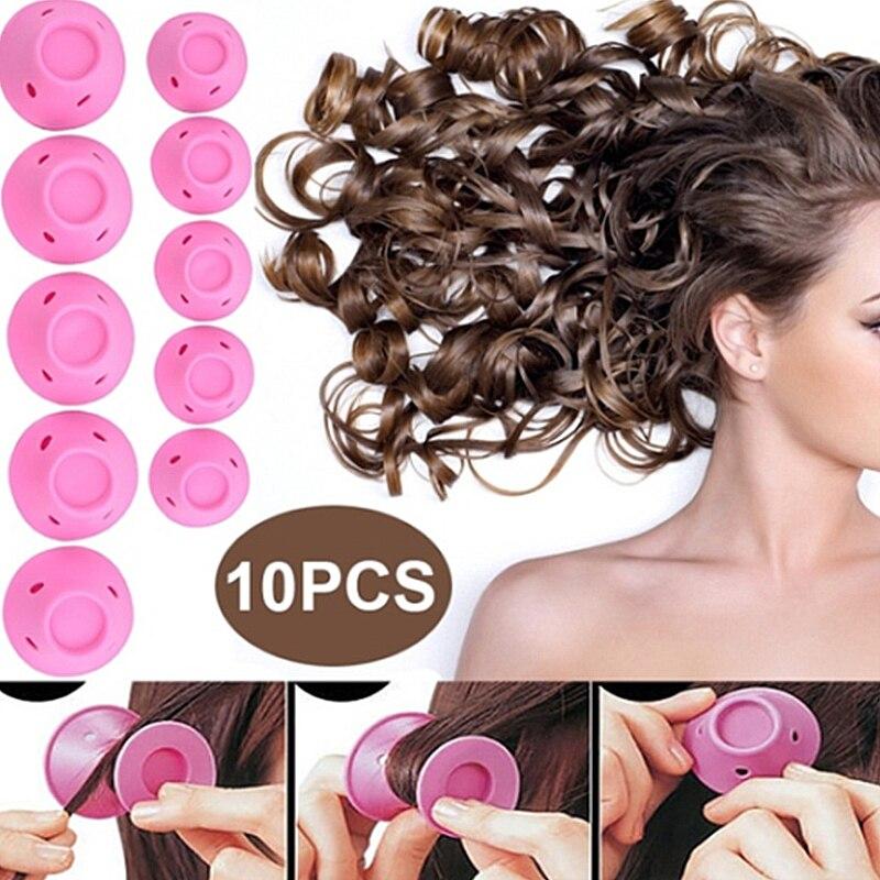 10 uds, almohada de rodillos de cuidado de pelo mágico de goma suave para dormir en la noche, esponja de espuma suave para girar el cabello sin calor, sin Clip, herramienta para rizar el cabello DIY