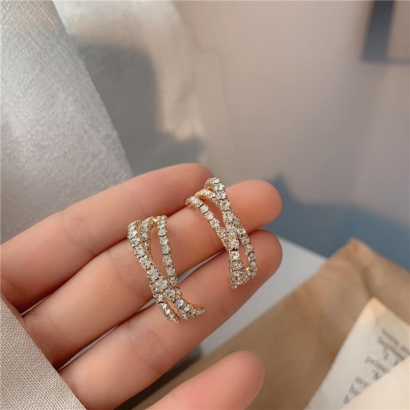 JP59 S925 الفضة الإبر هوب القرط زركون هندسية الصليب C-شكل أقراط الكورية شخصية مجوهرات للنساء