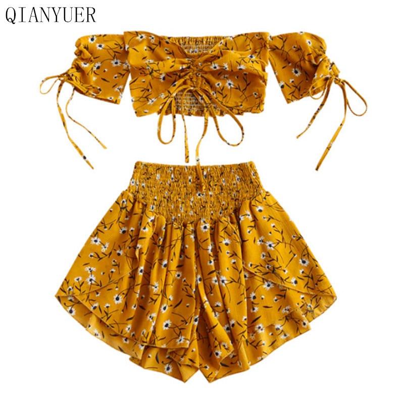Conjunto de hombro al aire para mujer, cuello con ojal ajustado, Floral, manga corta, conjunto de pantalones cortos de cintura alta, trajes de playa bohemios de verano