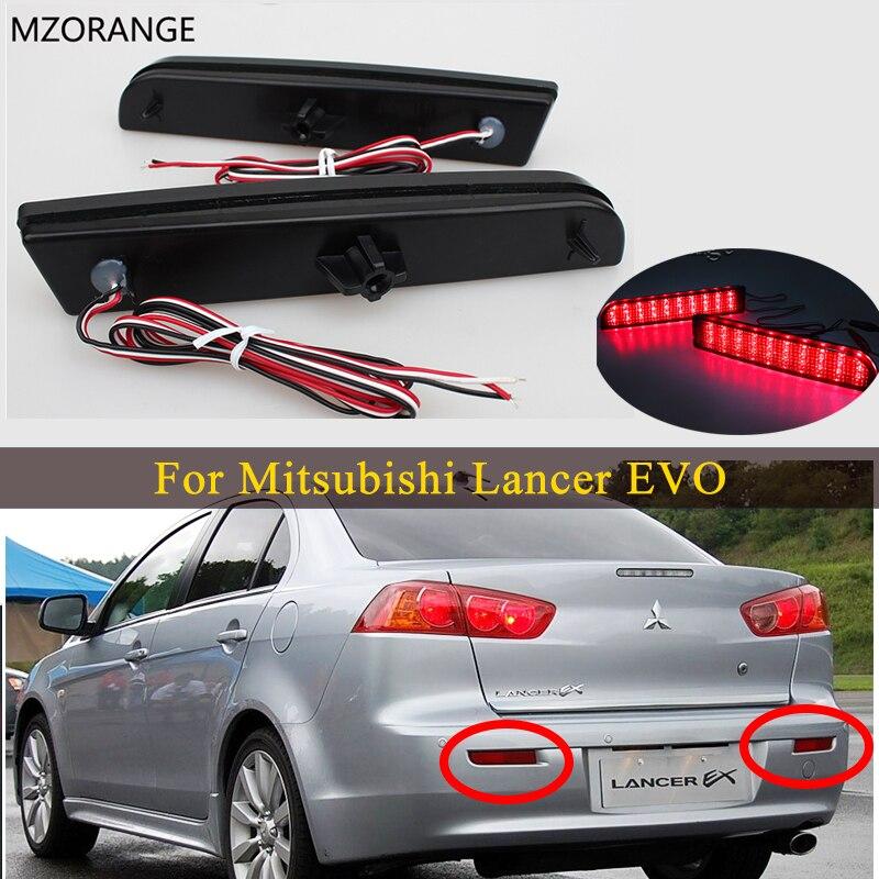 For Mitsubishi Lancer EVO 2008-2014 Evolution X CZ4A Outlander Sport RVR ASX LED Tail Brake Light Bumper Reflector Smoked Lens