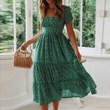 WENYUJH 2020 Women Summer Casual Bohemian Dress Women Short Puff Sleeve Square Neck Wrap Boho Dress Female Vestidos Plus Size