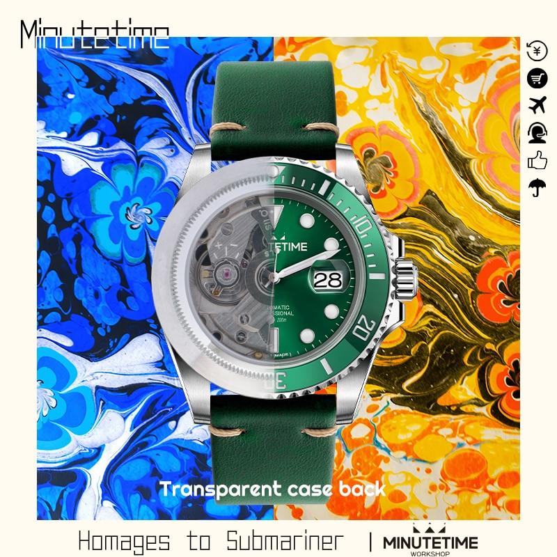 Relógio de Mergulho Minutetime Safira Cristal Calendário Nh35 Aço Mecânico Automático Relógio Masculino Esportes Transparen Oco 200m