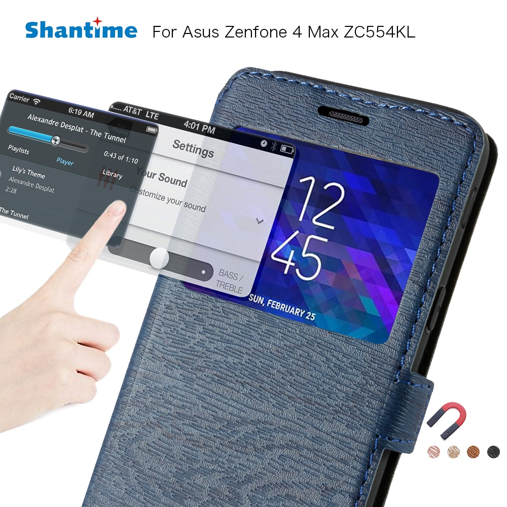Caso do telefone de couro para asus zenfone 4 max zc554kl caso da aleta para asus zc554kl ver janela livro caso macio tpu silicone capa traseira
