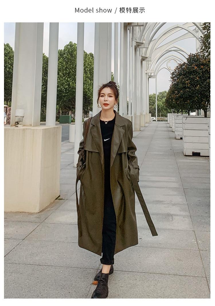 2020 Spring New Women Leather Jacket Long Slim Large Size S-XL Women's Leather Coat Fashion Leisure Female Motorcycle Clothing enlarge