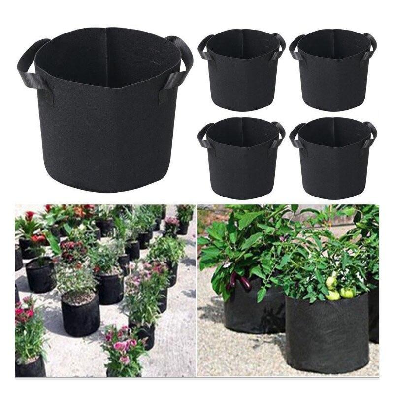 5Pcs 3/5/7 Gallon Grow Bags Felt Grow Bag Gardening Fabric Grow Pot Vegetable Growing Planter Garden Flower Planting Pots