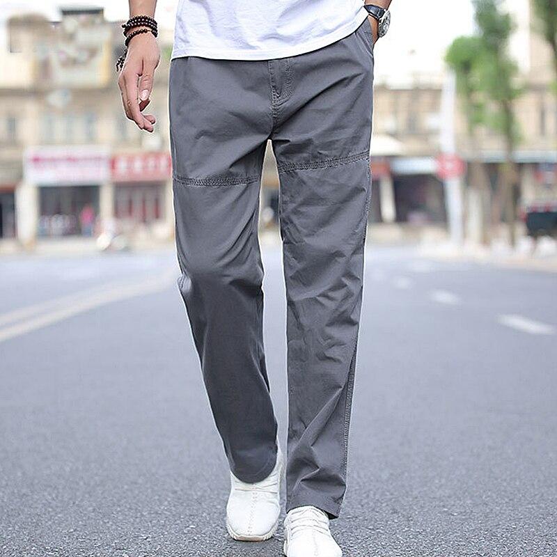 Мужские повседневные брюки 2021, мужские тонкие брюки-карго из чистого хлопка, свободные брюки, Мужская Уличная одежда, рабочие мешковатые сп...