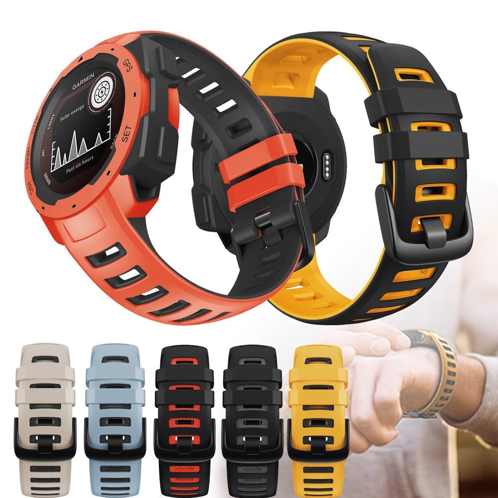 Silicone Watch Band Straps for Garmin Instinct/Instinct Tactical/Solar/Esports Smart Watch 22mm Replacement Wristbands Bracelet