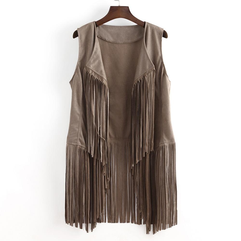 2019 chaleco femenino Otoño Invierno sólido gamuza étnica sin mangas borlas largo con flecos chaleco Chalecos Largos Streetwear A1