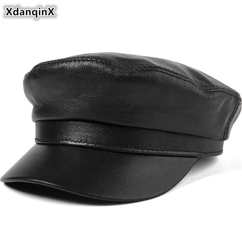 XdanqinX حقيقية قبعة جلدية أنيقة السيدات الخرفان قبعة من الجلد الجيش قبعة عسكرية الرجال سقف مسطح جديد الخريف زوجين الأسود القبعات
