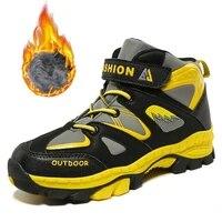 high top kids sneakers outdoor waterproof children hiking sport shoes boys winter plush warm snow shoes non slip girls sneakers