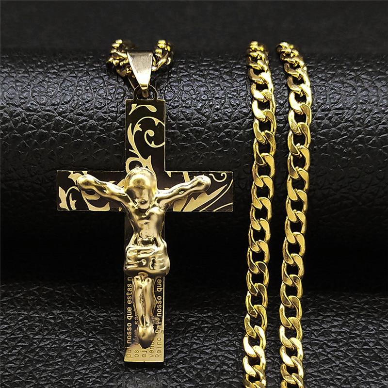 aliexpress.com - 2021 Hip Hop Cross Jesus Stainless Steel Necklace Gold Color Long Choker Necklace Women/Men Jewelry colier homme N1169S05