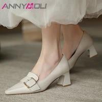 annymoli 2021 high heels natural genuine leather women shoes pointed toe pumps buckle chunky heel office ladies footwear beige