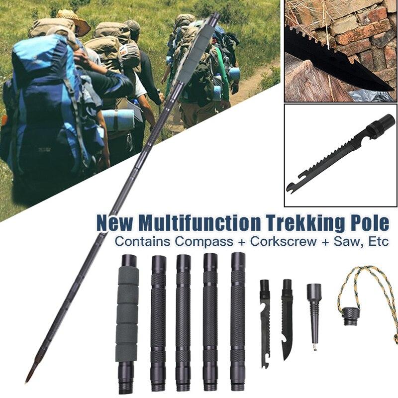 3 estilo multifuncional pólo de trekking para acampamento ao ar livre caminhadas varas anti choque caminhadas vara ferramenta sobrevivência ao ar livre