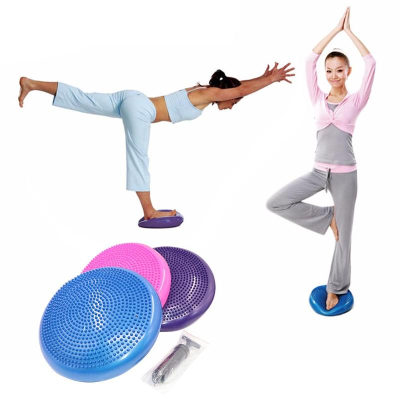 PVC inflable Yoga pelota de balanceo almohadilla cojín de entrenamiento estabilidad ejercicio punto masaje Mat bola interior deporte pelota de Yoga Fitness