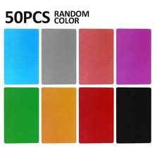 50 pièces 85x54x0.17mm couleur aléatoire en alliage daluminium carte de visite Laser marquage gravure accessoires bureau carte de visite vierge