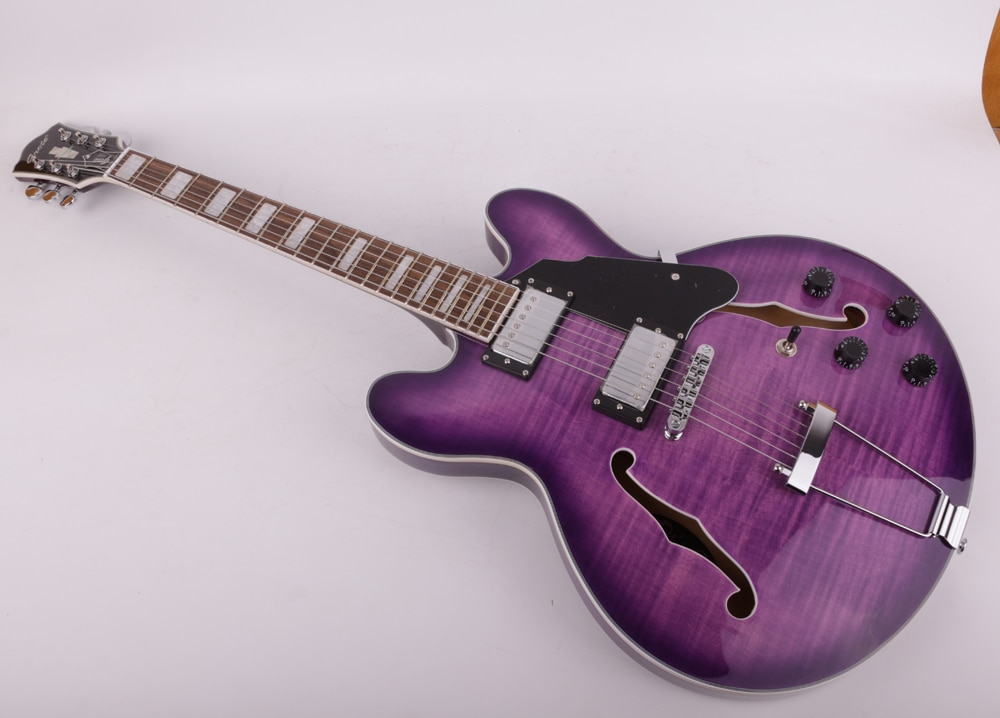 Good quality jazz hollow body f hole purple double cutaway electric guitar free shipping enlarge