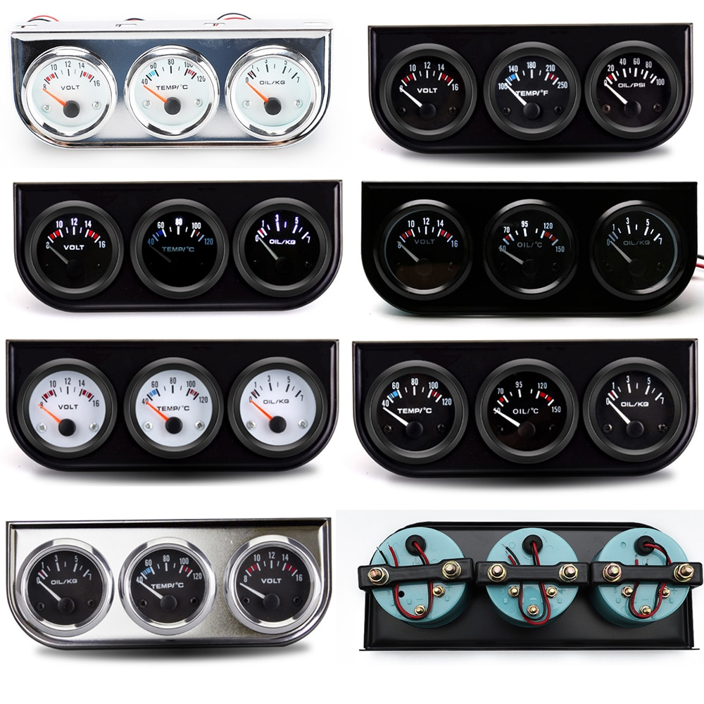 2 52mm water temp gauge blue red led car temperature digital meter tint lens universal gauge pod mount holder black 2 52mm 12V Car Gauge 3 In 1 Voltage / Water Temp / Oil Pressure / Oil Temperature Black Or Chrome Frame Triple Meter