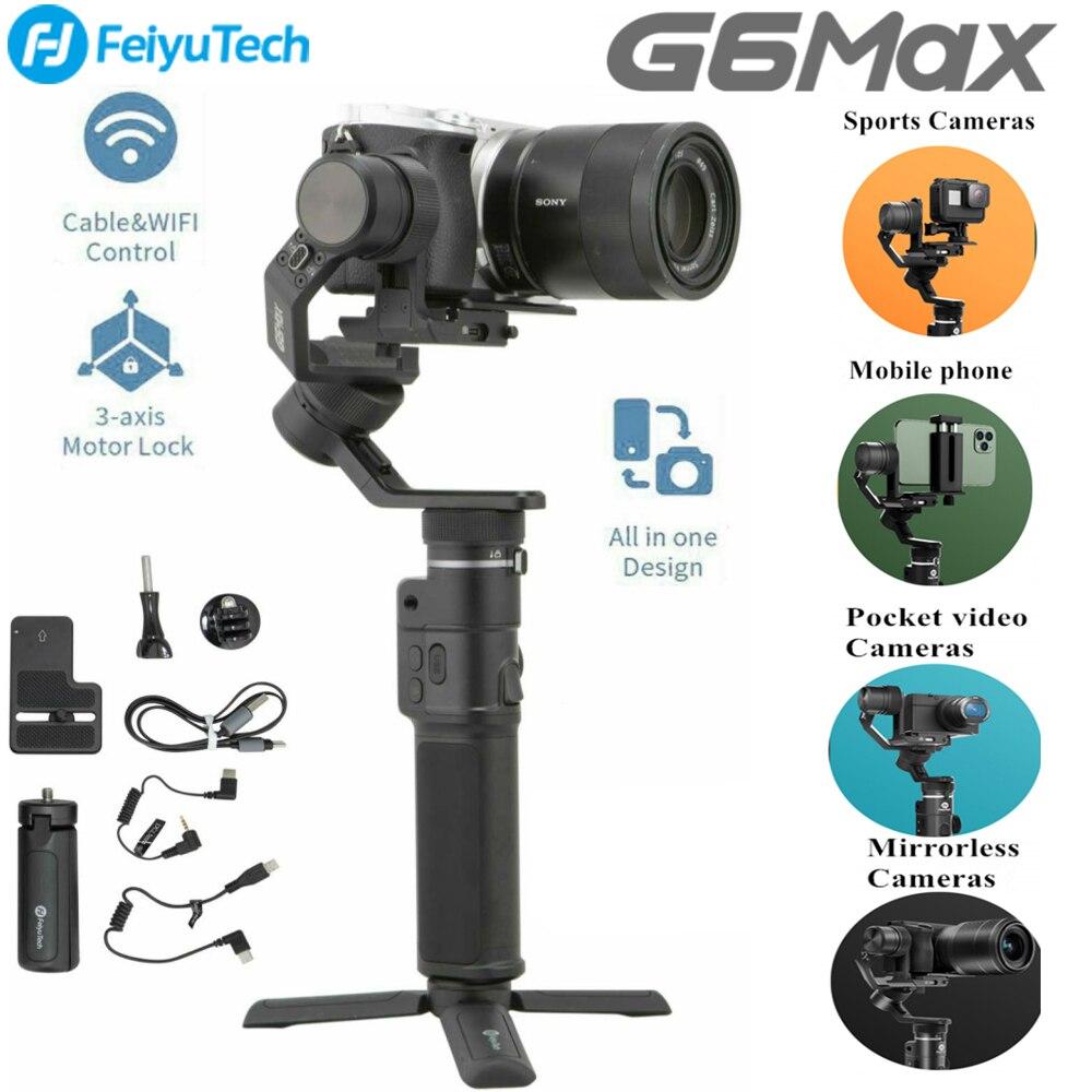 FeiyuTech G6 ماكس 3-المحور يده Gimbal استقرار (G6 زائد ترقية الإصدار) ل المرايا كاميرا forLike قصيرة عدسة ، كاميرا العمل