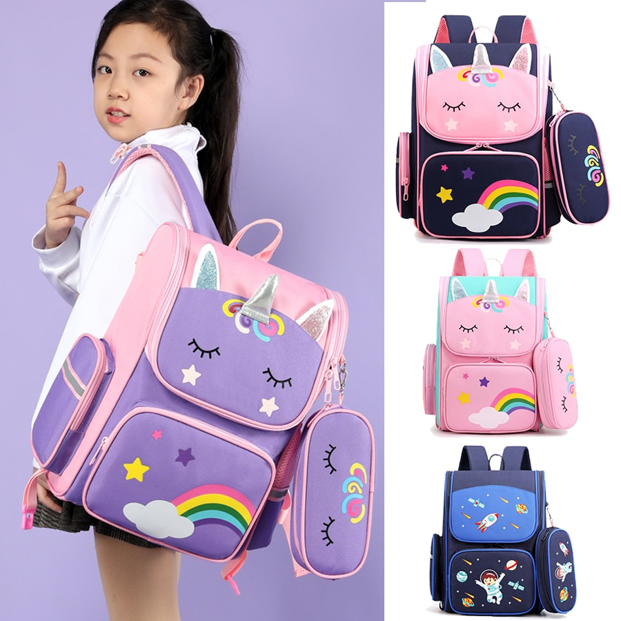 Cartoon 3D Creative Unicorn Children School Bags Girls Sweet Kids School Backpack Lightweight Waterp
